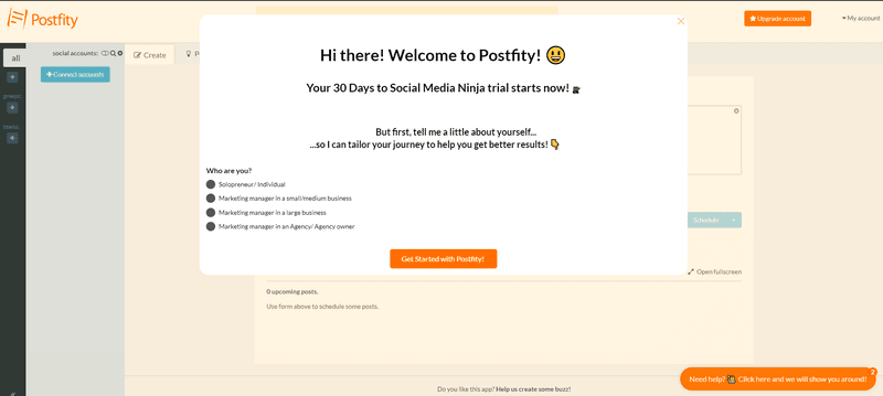 postfity welcome screen product onboarding