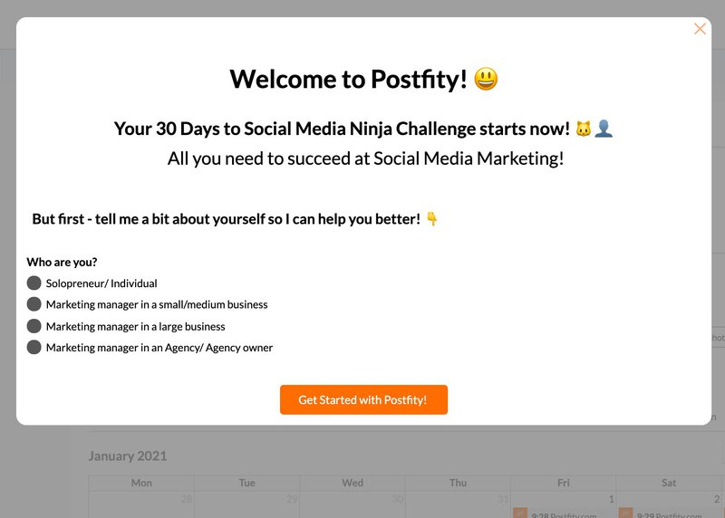 welcome screen postfity