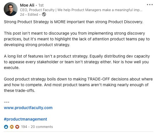 Quote on product strategy by Moe Ali, CEO @ Product Faculty