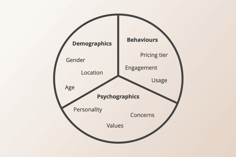 pie chart showing different user segments