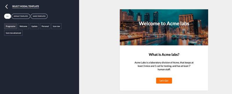 saas welcome screen template userpilot progressive