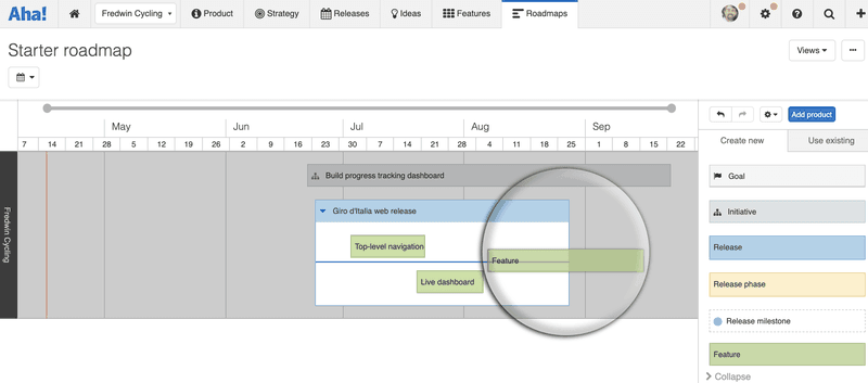 aha screenshot product roadmap tools