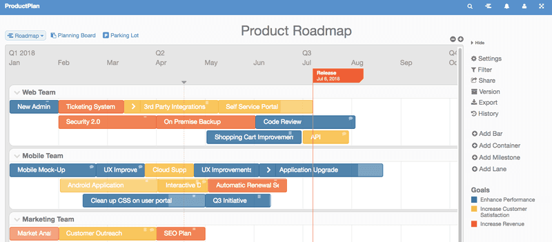 productplan screenshot product roadmap tools
