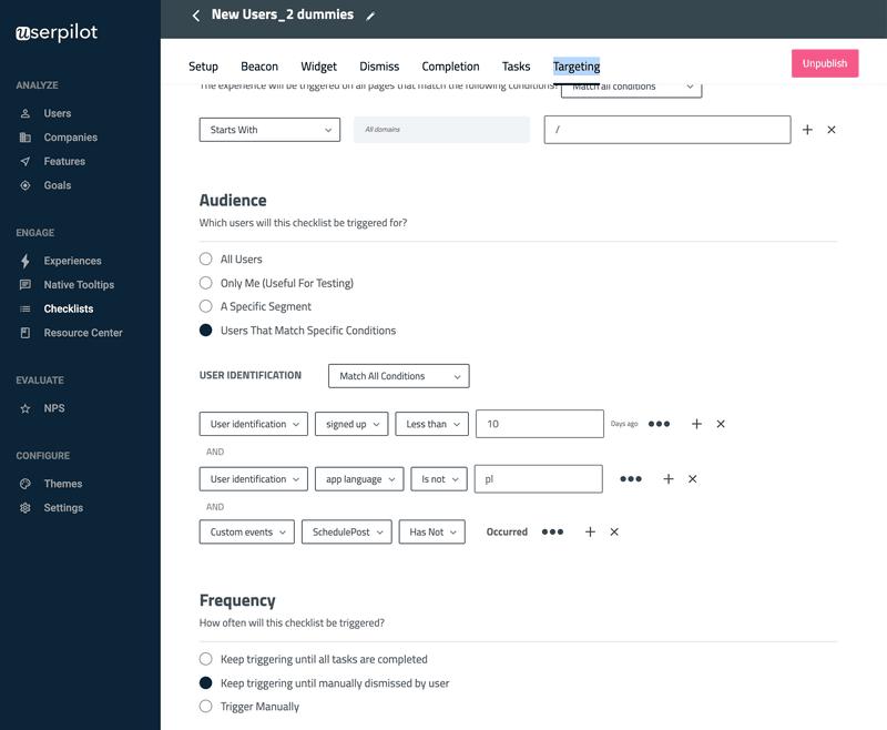 Advanced user segmentation in Userpilot