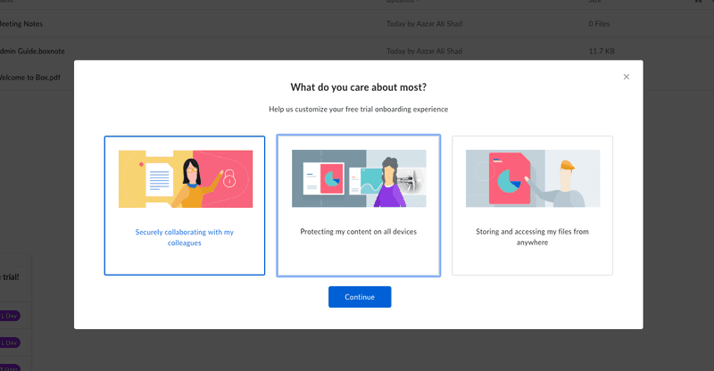 box self-serve onboarding