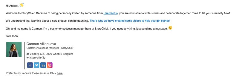 Storychief Onboarding Welcome Email