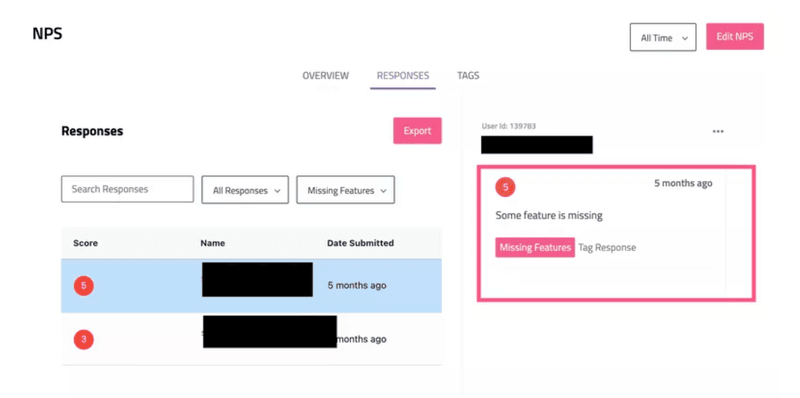 tag nps responses userpilot