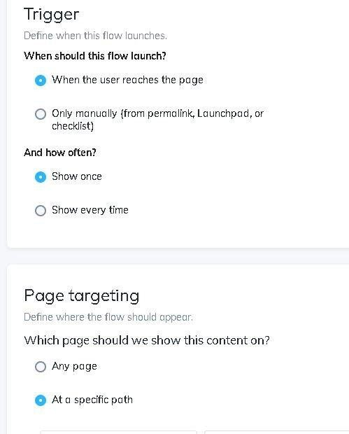 Trigger and page targeting Appcues