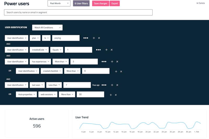 userpilot user experiences by segmentation
