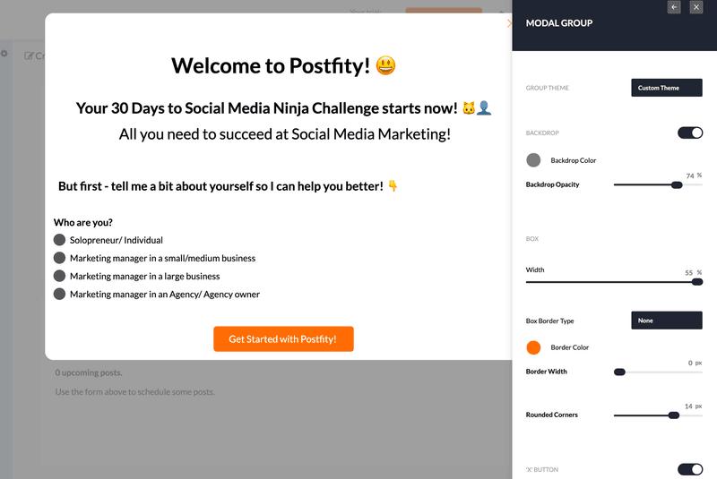 In-app messaging: Modal in Postfity