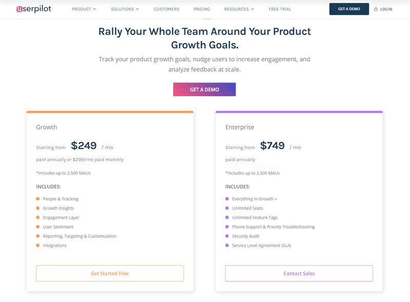 Userpilot best onboarding software for SaaS pricing