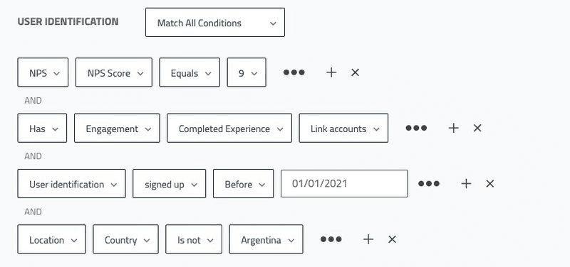net promoter score (nps) segmentation options in userpilot