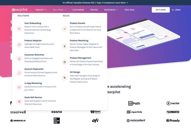 userpilot website structure