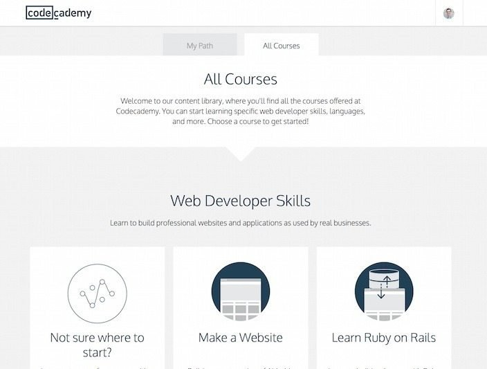 Codecademy welcome page