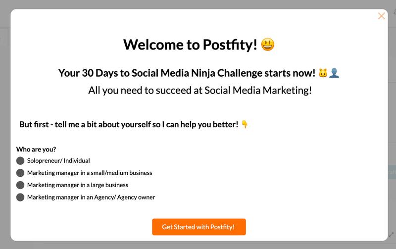 Postfity welcome screen segmentation proactive user onboarding
