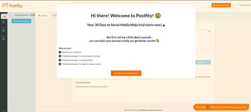 postfity welcome screen