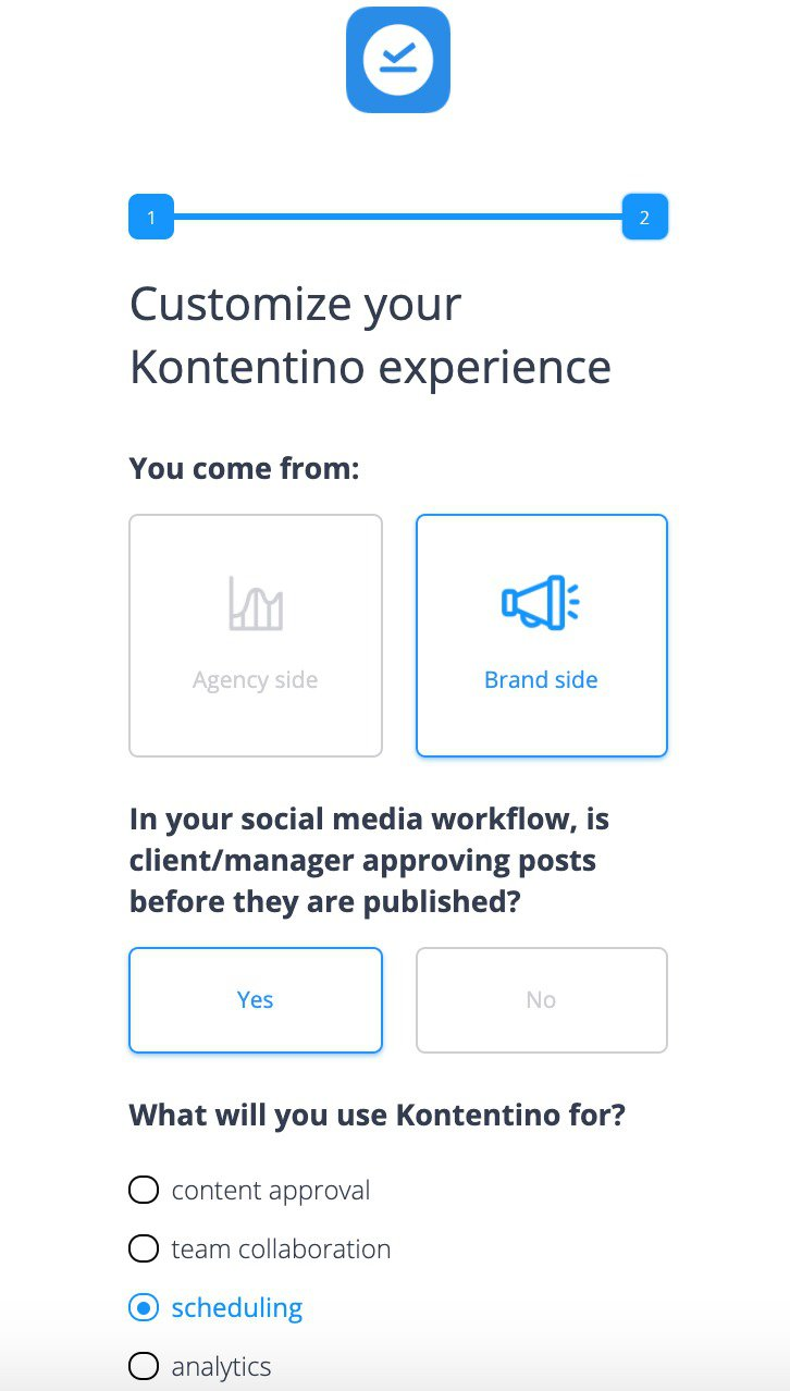 Kontentino welcome screen 2