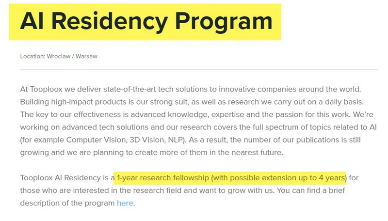Artificial Intelligence Residency Program