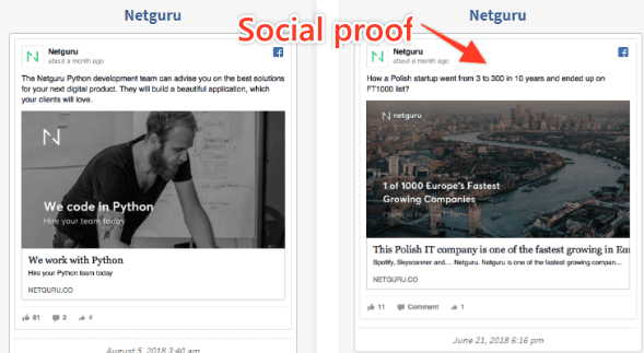 Facebook ads with social proof at Netguru