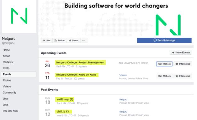Netguru's Facebook evens