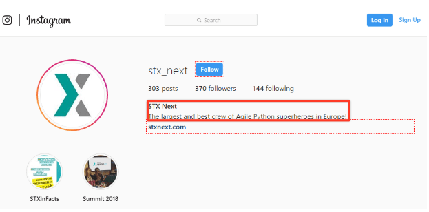 STX Next Instagram account