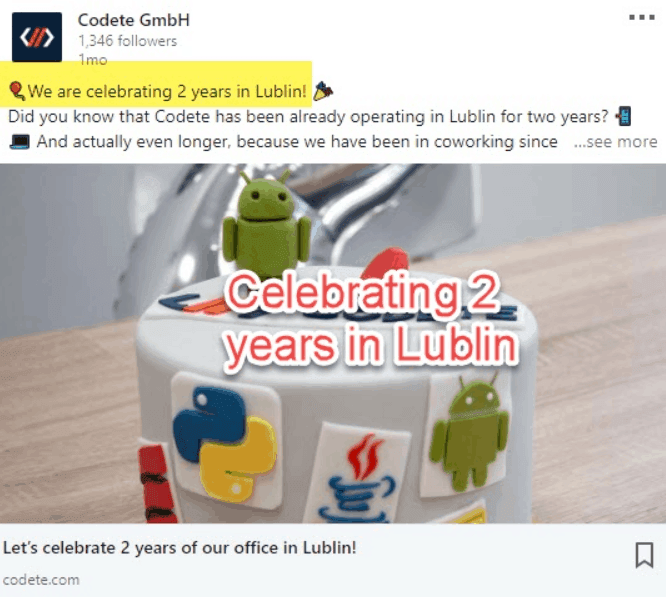 Celebration on LinkedIn