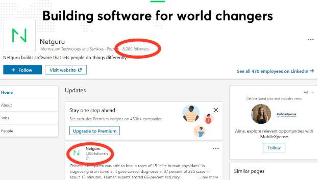 Netguru's Linkedin account