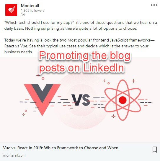 Blog posts on Linkedin