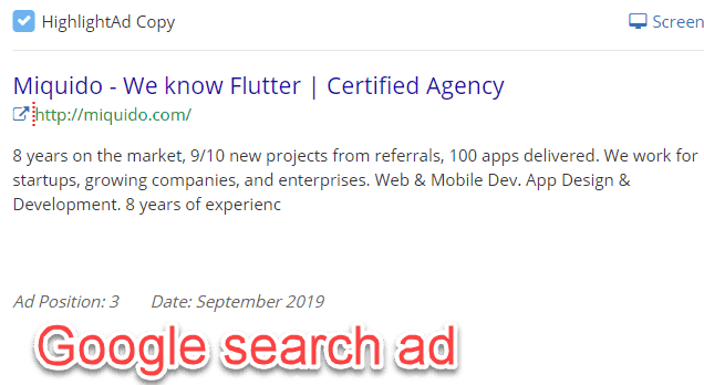Google search ad for Flutter app developers