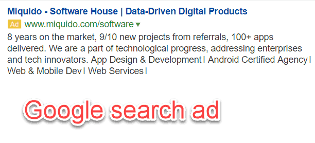 Google search ad promoting digital products and app development