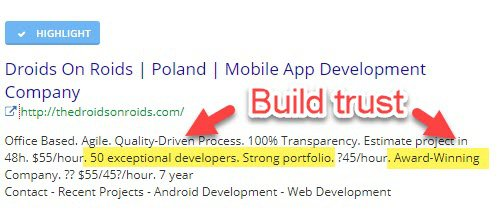 Google search ad - promoting mobile app development