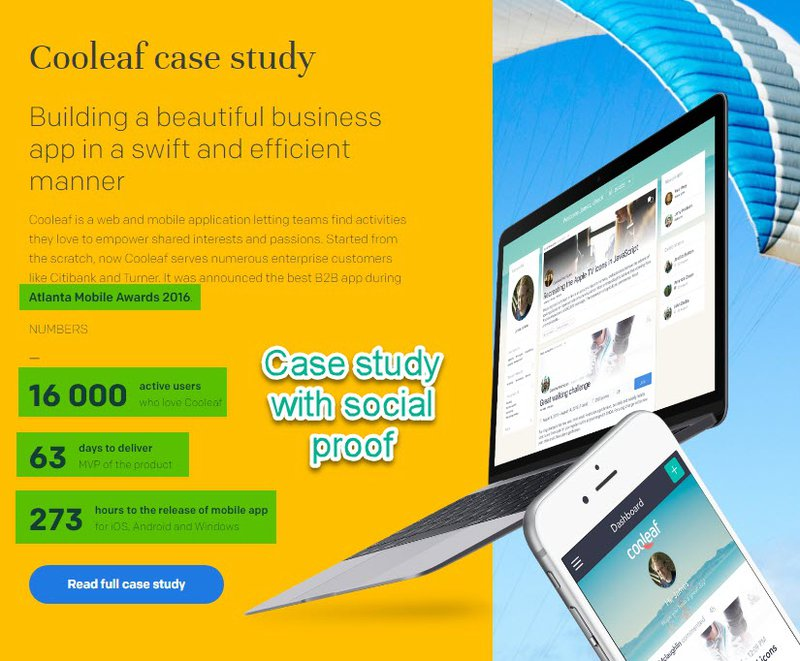 Case study with social proof