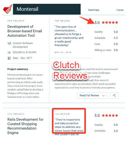 Clutch reviews for the web app design company: Monterail