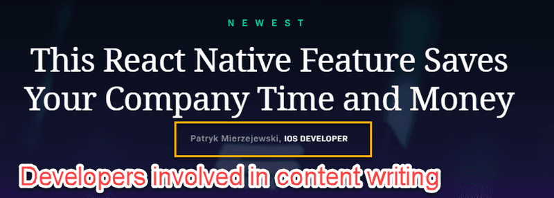 Developers involved in content writing