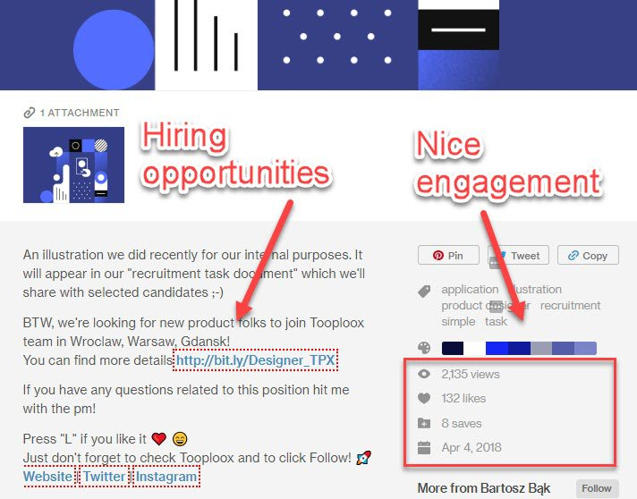 Job opportunities on Dribbble