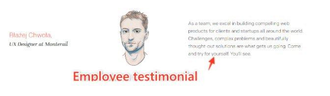 Employee testimonial