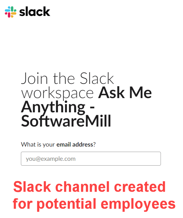 Slack channel for potential employees