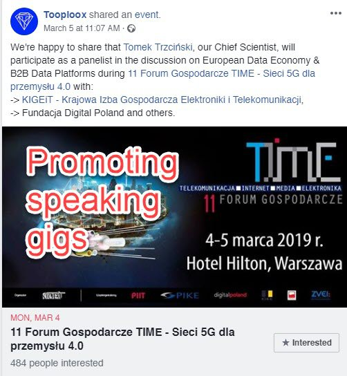 Promoting speaking gigs