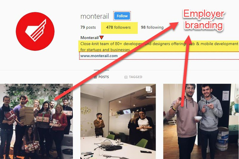 Employer branding on Instagram