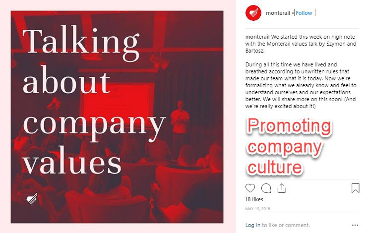 company culture on Instagram