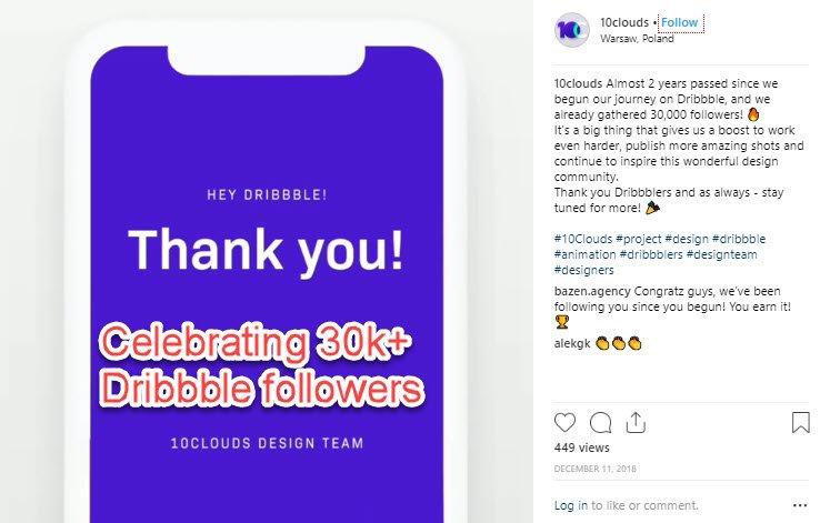 Celebrating on Instagram - reaching 30k+ Dribbble followers
