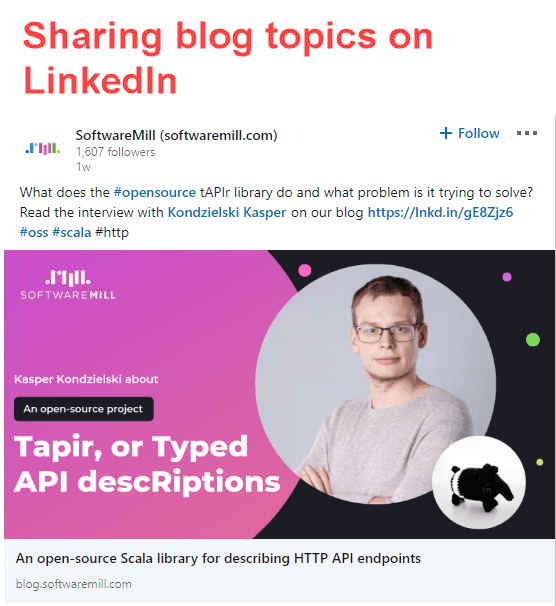 Sharing blog articles on LinkedIn