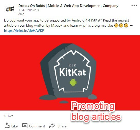 Blog articles on LinkedIn