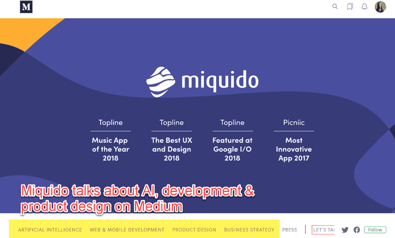 Medium page: talking about AI, development and product design