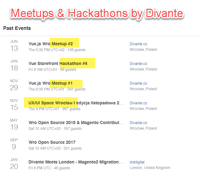 Meetups organized by Divante