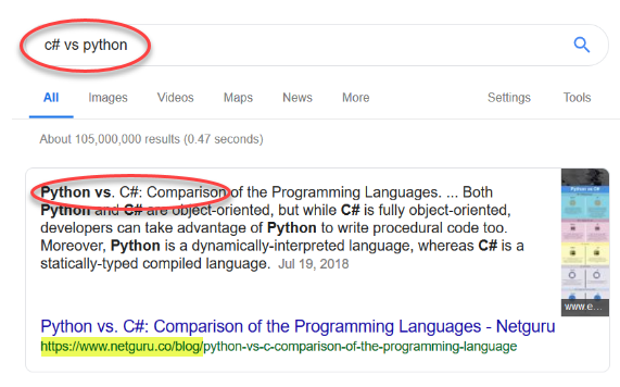 """C# vs python"" snippet"