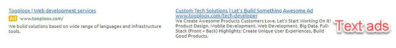 Google search ads for Tooploox