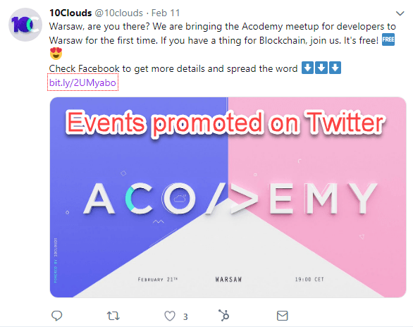 Promoting events for developers on Twitter