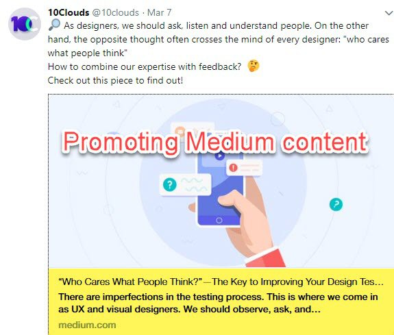 Sharing Medium content on Twitter