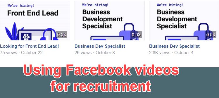 Recruitment videos on Facebook